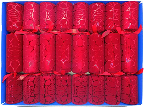 Crushed Velvet (Red Crushed Velvet Flock Christmas Crackers (Knallbonbons) with Lucky Sixpences by Crackers Ltd)