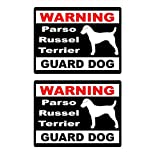 Wandtattoos Wandbilder(2 Teile/Satz) 2X Cartoon Warnung Parson Russell Terrier Wachhund Spaß Pvc Reflektierende Aufkleber Fenster Aufkleber 15X11.5 Cm