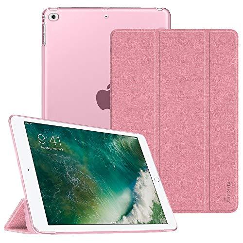 Fintie Hülle für iPad 9.7 Zoll 2018 2017 / iPad Air 2 (2014) / iPad Air (2013) - Ultradünn Schutzhülle mit transparenter Rückseite Abdeckung Cover mit Auto Schlaf/Wach Funktion, Jeansoptik Rosa - Generation 64 4. Gb Ipad