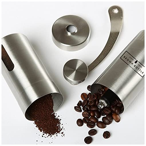 Coffee Grinder   Hand Held Manual Burr Grinders for Coffee Beans   Adjustable Metal Coffee Grinder for Bean Grinds   Espresso Moka Pot Filter Flat White   Fine & Coarse Grounds