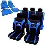 WOLTU Housse de siège voiture universelle Housses de protection pour siège de voiture + tapis de sol voiture Set AS7260+7109 Noir Bleu