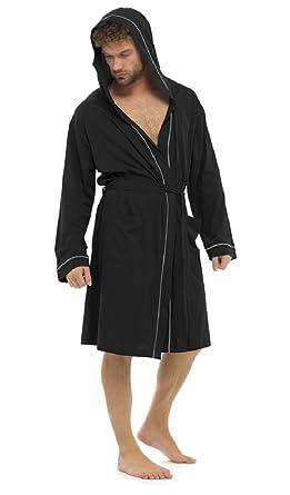 Mens Cotton Jersey Lightweight Summer Hooded Robe / Dressing Gown ...