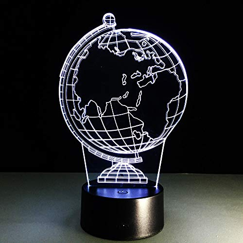 zcmzcm 3D Nachtlicht  Earth Globe LED 7 Color Change Flash  Table Bedside Baby Sleep  Lamp Novelty Child Kid Holiday Classroom Decor Gift