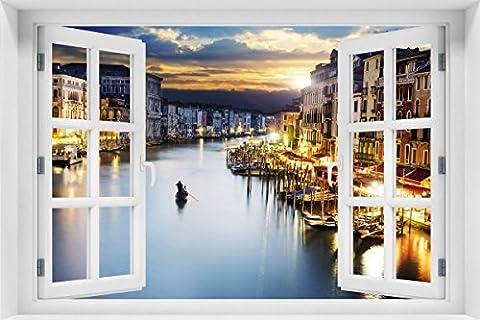 Wallario Acrylglasbild mit Fenster-Illusion: Motiv Canal Grande in Venedig am Abend mit untergehender Sonne - 60 x 90 cm mit Fensterrahmen in Premium-Qualität: Brillante Farben, freischwebende (Illusion Glas Schiff)