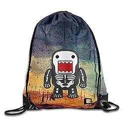 Gym Drawstring Bag Backpack Funny Cool Domo-kun Skeleton Gym Sport Bag, Large Lightweight Gym Sackpack