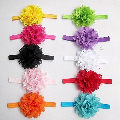 QHGstore 8pcs Flower Girl Cappelli Cute Baby Fascia per capelli colore casuale chiffon