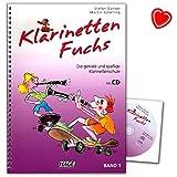 Klarinetten Fuchs Band 1 - Klarinettenschule für Anfänger mit CD und bunter herzförmiger Notenklammer