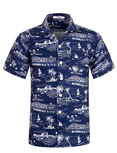 Herren Hawaii Hemd Kurzarm Flamingos Aloha Party Shirt Palm Beach Shirts EHS001-3XL