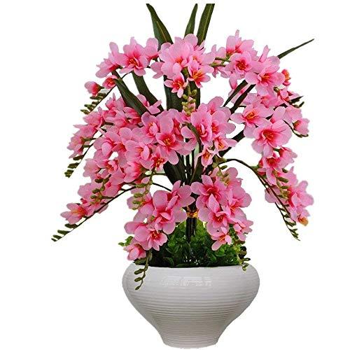 Jnseaol Kunstblumen Künstliche Blumen Orchidee Urlaub Geschenk Wohnzimmer Hochzeit Party Küche Nach Hause Eine Große Ornament Keramik Topf DIY Pink-20 - Keramik-topf Großer