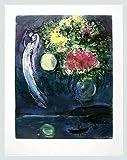 Marc Chagall Liebespaar mit Blumen Poster Kunstdruck Bild im Alu Rahmen in silber matt 90x70cm