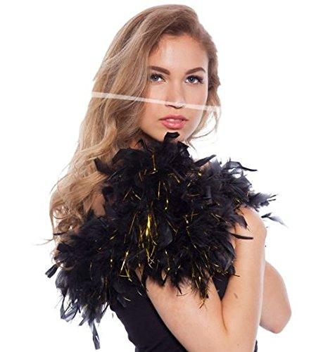 Boa de plumes noir avec s'effilocher d'or 180cm 8714572620864