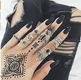 Hwiionne Set di anelli in argento cristallo punk vintage per donna Set di timbri anello nocca 10 pezzi
