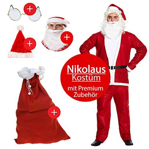 L+H Nikolaus Kostüm im Set in Premium Qualität | 5-teilig | 1x Anzug, 1x Mütze, 1x Bart, 1x Brille und 1x Geschenksack | Weihnachtsmann Mantel universalgröße für Erwachsene | Santa Claus Verkleidung (M&m Kostüm Zubehör)
