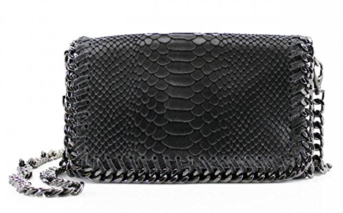 LeahWard® Kette Trim Genuine Italy Leder Kreuzbeutel Groß Marke nett Handtaschen VPS00 D. Grau SchlangeHaut