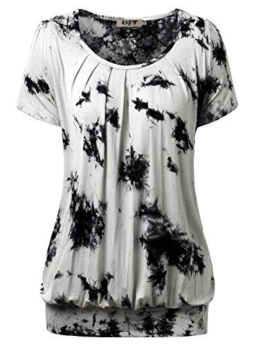 DJT Damen Casual Falten Kurzarm T-Shirt mit Stretch Rundkragen Grau M (Geraffte Top Jersey V-ausschnitt)