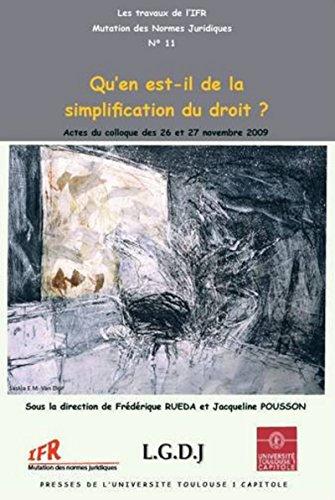 Qu'en est-il de la simplification du droit? Actes par Jacqueline Pousson, Frederique Rueda