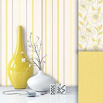 Essener Floral Prints Vinyltapete PR33832 Weiß Gelb Streifen ...