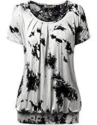DJT Femme T-shirt Haut agreable Casual Tops Col rond Plisse Manches courtes