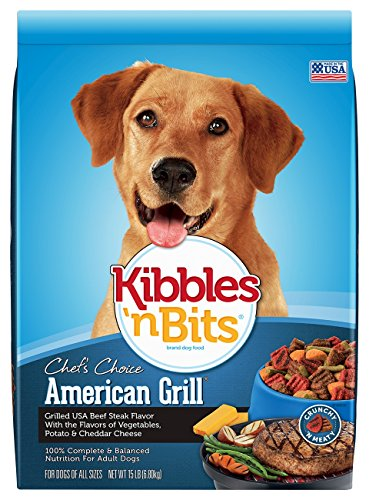 Kibbles 'n Bits American Grill Grilled USA Beef Steak Flavor Dry Dog Food, 15-Pound by Kibbles 'n Bits