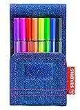 Premium-Filzstift - STABILO Pen 68 Mini - 8er Jeans-Etui - mit 8 verschiedenen Farben