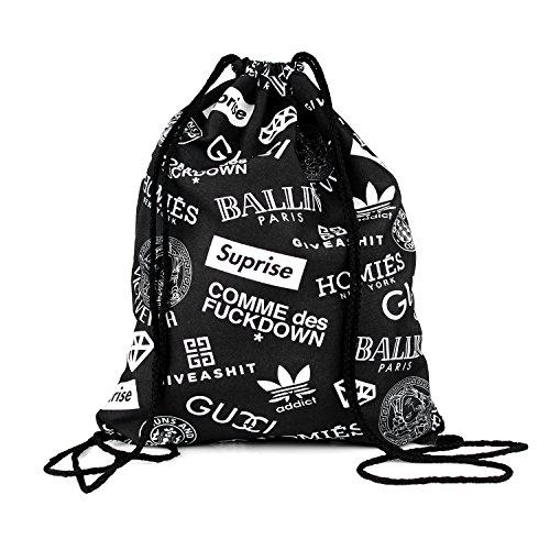 Beutel Fake Brand Marken Gefälscht Fälschung Beutel Voll Bedruckt Full Print All Over Must Have Beutel Bag Tüte Jutebeutel Tasche Gym Bag String Bag Kordle Loomiloo BFB (Givenchy Top)