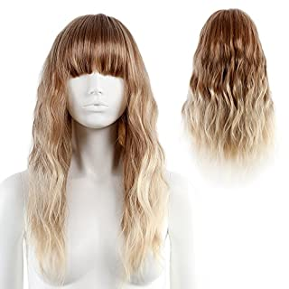 STfantasy Ombre Blonde Wig Light Bangs Natural Wave Long Curly Wigs for Women Cosplay Party Ripple Hair 23