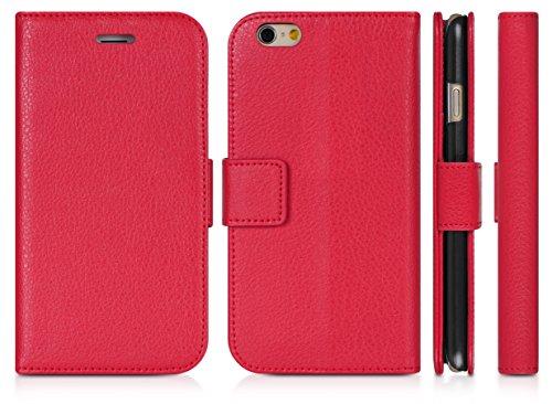 DONZO Tasche Handyhülle Cover Case für das Apple iPhone 6 / 6S in Grau Wallet Travel als Etui seitlich aufklappbar im Book-Style mit Kartenfach nutzbar als Geldbörse Wallet Structure Rot