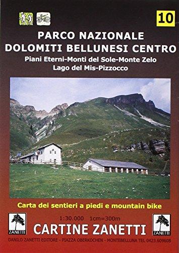 Parco Nazionale Dolomiti Bellunesi centro. Piani Eterni, Monti del Sole, Monte Zelo, Lago del Mis, Pizzocco 1:30.000 (Cartine dei sentieri)