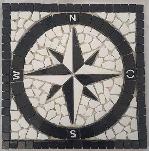 Granit Rosone 30x30 cm für Draußen Windrose Mosaik Star Galaxy Schwarz Weiss 065 -