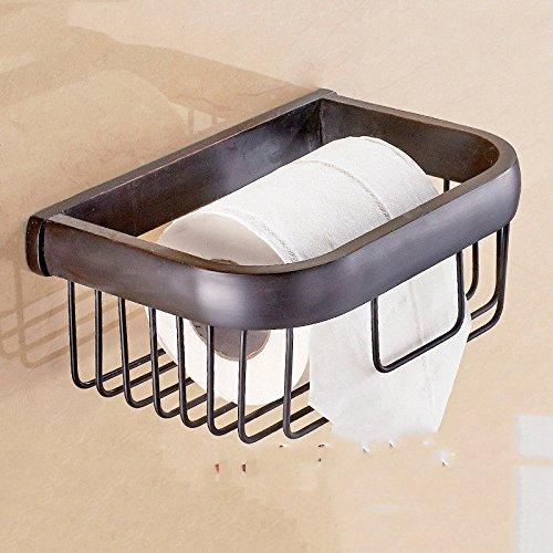 LHbox Tap Schwarz Badetuch Rack integrierte Regal WC-Bürste Handtuchhalter Handtuchhalter 6-Pack Papier Handtuch Warenkorb - 6k Warenkorb