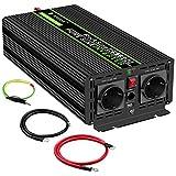 1500W KFZ Reiner Sinus Spannungswandler - Auto Wechselrichter 24v auf 230v Umwandler - Inverter Konverter mit 2 EU Steckdose und USB-Port - Spitzenleistung 3000 Watt
