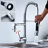 Auralum® Brass Kitchen Sink Taps High-Pressure Mixer Tap Spring Pull Out 360°Swivel Rinse Shower Faucet Spout Luxury Chrome Faucet with