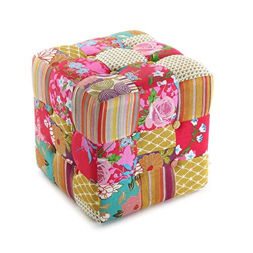 Versa 19500230 Taburete cubo puff asiento Pink Patchwork, 35x35x35cm,