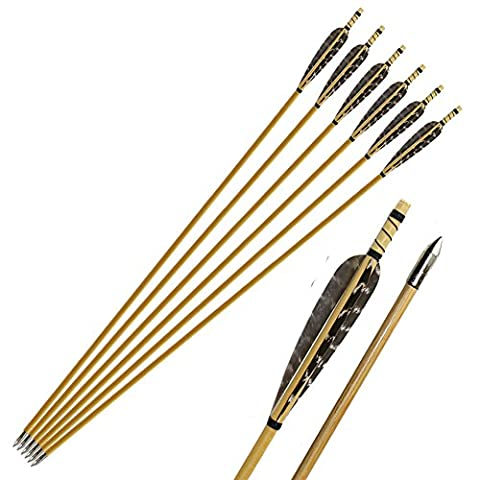 Huntingdoor 6 Pcs Pure Handmade Archery Wooden Arrow Pheasant Turkey Feather Fletching Practice Target Arrows With Silver Point For Traditional Recurve Bow Or Longbow