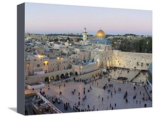 Jewish Quarter of Western Wall Plaza, Old City, UNESCO World Heritage Site, Jerusalem, Israel Bedruckte aufgespannte Leinwand von Gavin Hellier - 23x30 cm