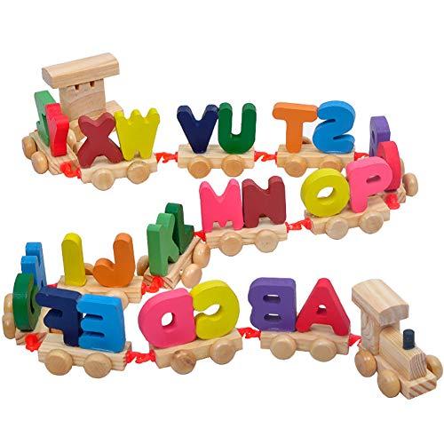 Xiton 1 Satz Schreiben Zug aus Holz Alphabet Train ABC-Zug Boden Puzzles Holz Brief Train Set pädagogisches Spielzeug für Vorschulkinder