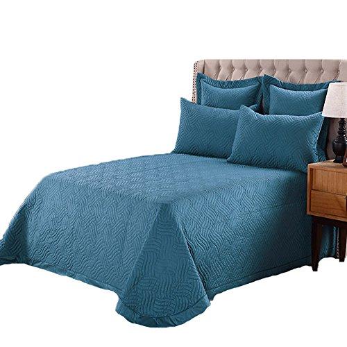 Black Temptation [Quilt Tagesdecke Set] blau Aqua leichte gemütliche 3PC Quilt Bettdecke Set 245 * 260