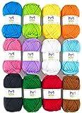 Grandes pelotes de 50g de laine bonbon artisanale Mira – 1200 m de fil pour crochet et tricot – Kit de démarrage incluant 12 pelotes multicolores