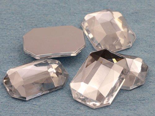 25 x 18 mm Crystal Clear A01 à dos plat bijoux octogonale en acrylique de haute qualité Pro - 18 pièces