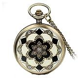 Avaner Reloj De Bolsillo Vintage Retro De Flores, Reloj Mosaico con Cadena Larga De 81cm, Cuarzo Reloj Bronce De Números Arábigos para Mujer