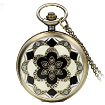 """Avaner Romantic Rhinestone Accented Sakura Flower Round Dial Pocket Arabic Numerals Analog Quartz Watch Pendant Necklace with 32"""" Chain Gift for Lady Women"""