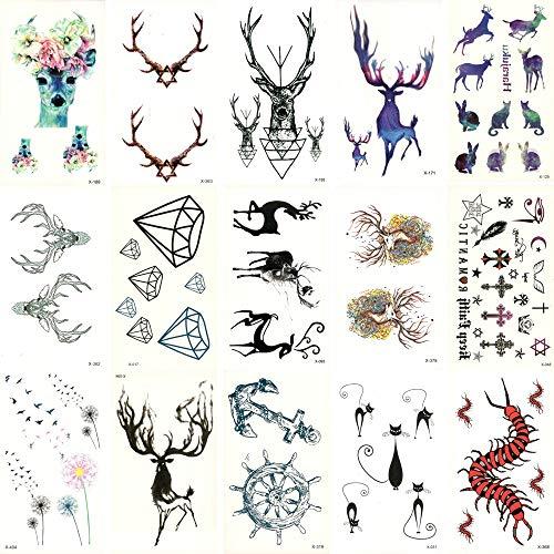 älschte Temporäre wasserdichte Tattoo Wassertransfer Hirsch Elefant Aufkleber Schönheit Body Art Cool Make-Up Live of Song 10,5X6 cm ()