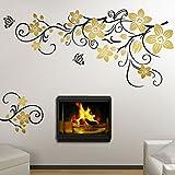 Grandora W5392 Wandtattoo 2-farbige Blumenranke mit Schmetterling Wohnzimmer Flur türkis (BxH) 151 x 58 cm