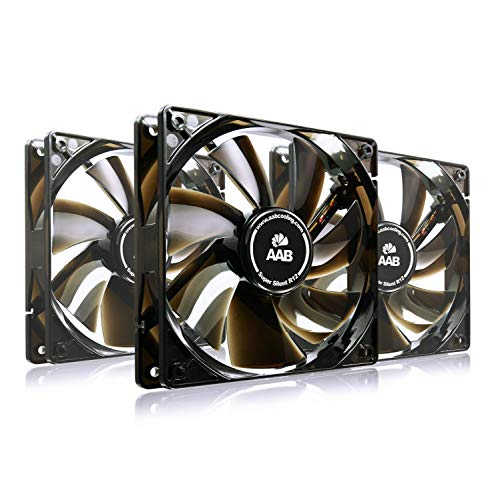 AAB Cooling Super Silent R12 - Leise und Efizient 120mm Gehäuselüfter mit 4 Anti-Vibration-Pads und 9V Adapter - Lüfter | Kühler | Computer | Kühlung 12V | Gehäuse Lüfter 120mm - Wertpaket 3 Stück