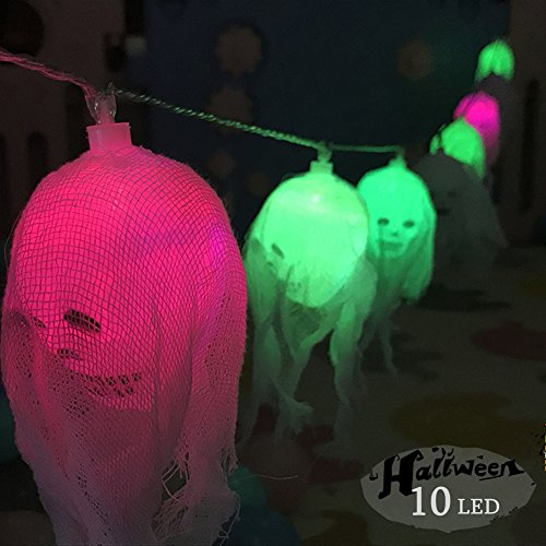 e licht, morbuy 10 LED schedel lichtketting sfeer schedel LED lampen batterijvoeding verlichting bonte lampen decoratie Perfect voor Halloween-decoratie (Diy-fenster-dekorationen Für Halloween)