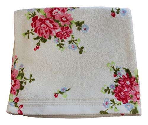Homescapes 100% Baumwolle Frottee Handtuch weiß mit Vintage Blumen Print und gestickter Bordüre