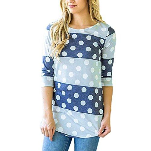 OVERDOSE Damen Lässige Blumen Splice-Streifen Druck Rundhalsausschnitt Pullover Bluse Tops T-Shirt (S, B-A-Blau)