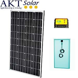 AKT solar kit avec Panneau solaire 140W, 12V + Régulateur de charge 20A + Câble 5m