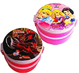 Ski Combo Set Of 2 Round Double Lock & Fit Set of 2 Lunch Box For School Kids (prints may be vary)