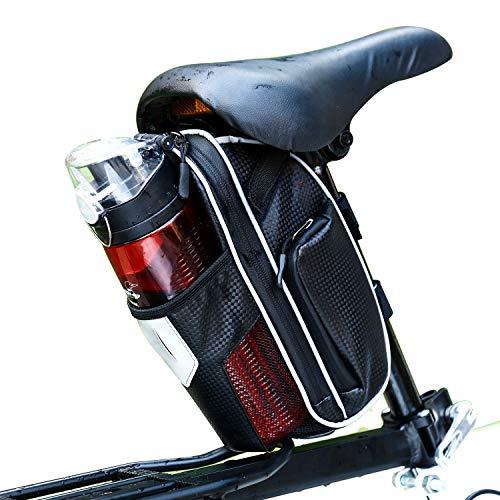Selighting Fahrrad Satteltasche Wasserdicht Fahrradtasche mit Flaschenhalter für Mountainbike Rennrad (Grau)
